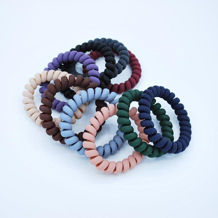 Matte Spiral Coil/Cord Hair Ties – 10 Pack 10 Pack Matte Telephone Cord Hair Tie…