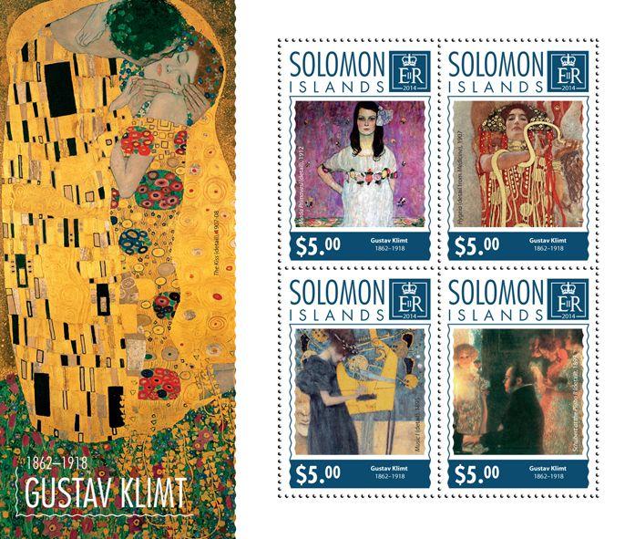 Post stamp Solomon Islands SLM 14701 aGustav Klimt (1862-1918. Mada Primavesi, detail, 1912, {…}, Schubert at the Piano II, 1899)
