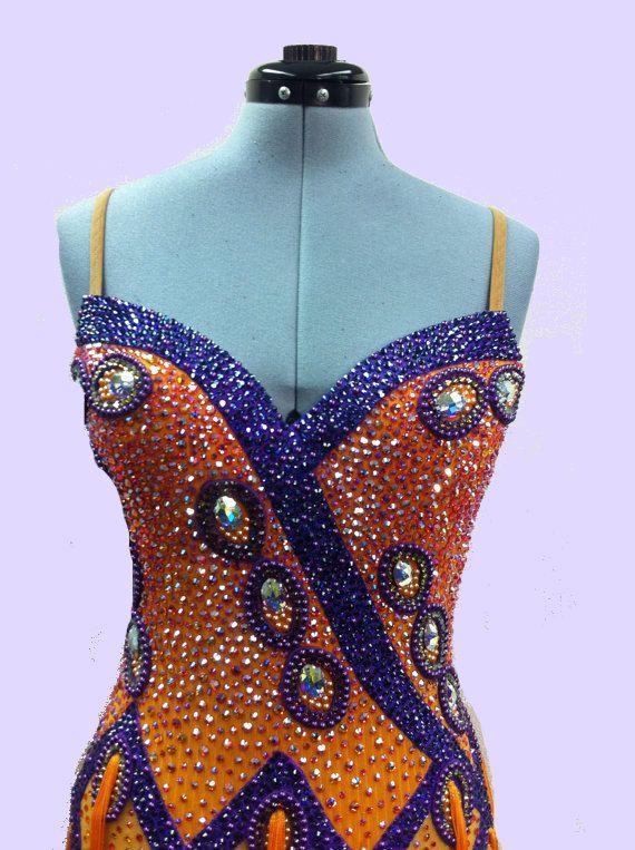 Dance Dresses Orange Fringe  with  Swarovsky Crystals. $2,119.00, via Etsy.