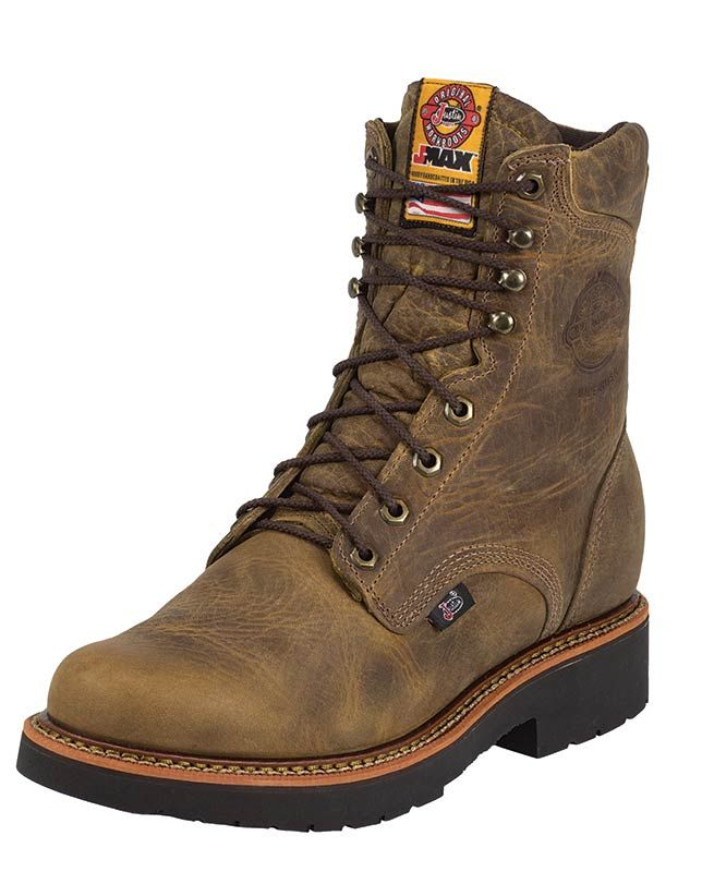 Justin Men's 8 Inch J-Max Rugged Tan Gaucho Lace Up Safety Toe Work Boot - Work Boots - ASTM EH Electrical Hazard rated protection Steel Toe impact compression rugged work boots full storm welt lace-up padded collar tough construction job site contractor footwear