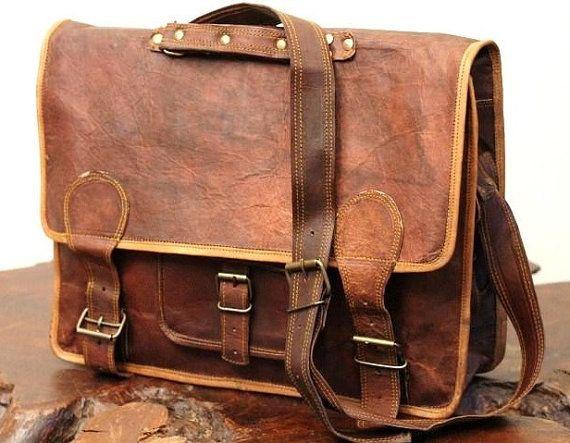 Genuine Leather Laptop Messenger Bag Leather Satchel Shoulder Bag