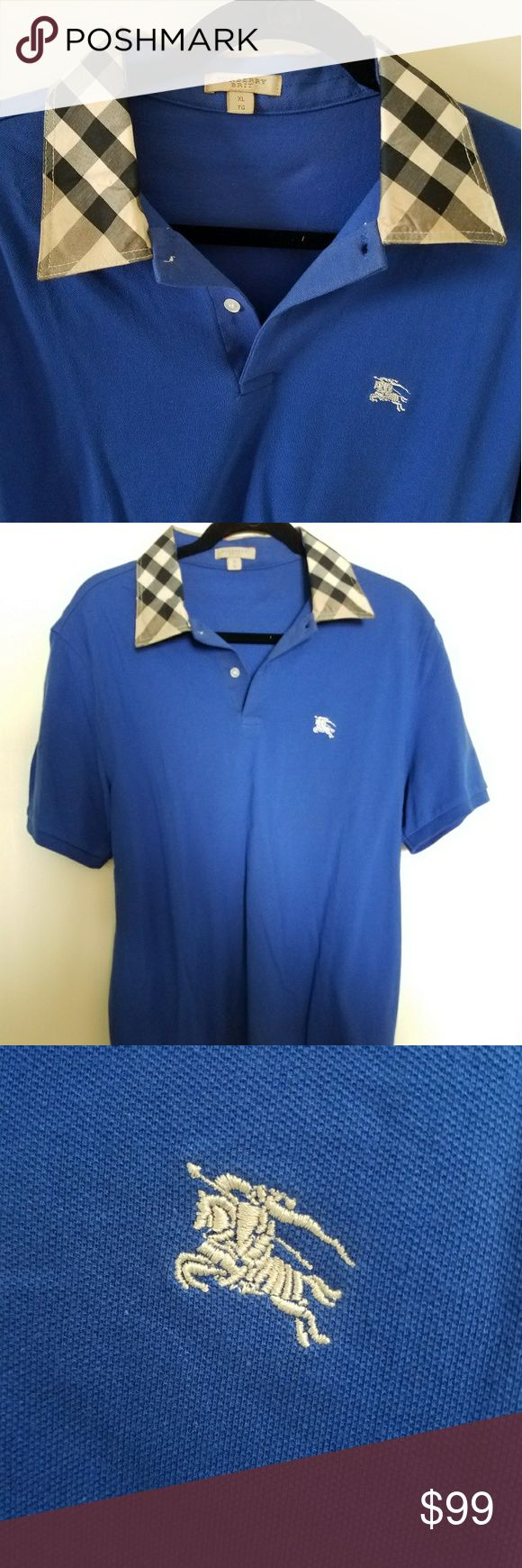"""Burberry Brit Polo Shirt Mens Large Blue NEW 100% Authentic Burberry Brit polo Shirt. Very Rare! This is a UK exclusive, not available in the USA!  XL on tag but that is UK Sizing, equals Large in US.  PRICE IS FIRM  BRAND NEW!!! No tag   23"""" Armpit to armpit. Please compare LAST PIC  Better Price through PPal Text me  Eric 925-984-1655  Low-ball offers will be ignored, sorry no trades  If you have an offer, make an offer, don't comment and ask if I'll take a certain amount.  Thanks Burberry…"""