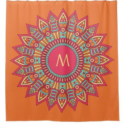 #Your Monogram in a Boho Frame shower curtain - #Bathroom #Accessories #home #living