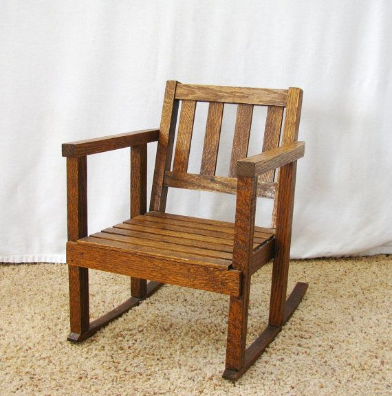 Vintage Childs Rocking Chair Mission Style Wood Slat Toddler By