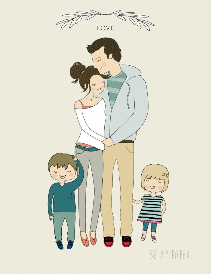 Мама папа и двое детей картинки нарисованные