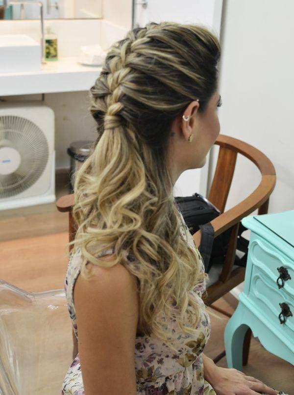 penteado semi preso com trança