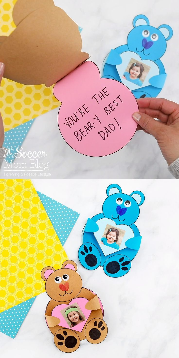 Teddy Bear Card W Kid S Photo 3d Craft For Father S Day Preschool Crafts Fathers Day Crafts Paper Crafts For Kids