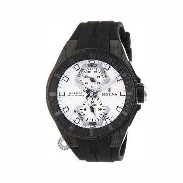 F16612/1 Ανδρικό αδιάβροχο σπορ quartz ρολόι FESTINA με ημερομηνία, άσπρο καντράν & μαύρο καουτσούκ | Ανδρικά ρολόγια FESTINA ΤΣΑΛΔΑΡΗΣ στο Χαλάνδρι #Festina #μαυρο #ημερομηνια #σιλικονη #ρολοι
