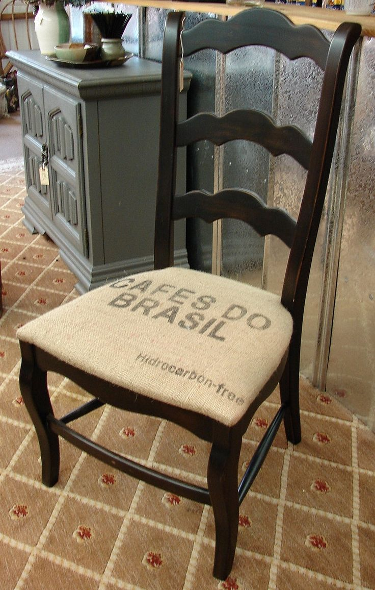 Reclaimed French Country Ladderback Ladder Back Accent Burlap Chair (Mix n Match with our other Black Burlap Chairs). $169.95, via Etsy.