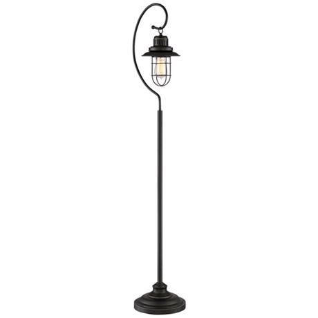 Ulysses Oil-Rubbed Bronze Industrial Lantern Floor Lamp - #1G375 | Lamps Plus