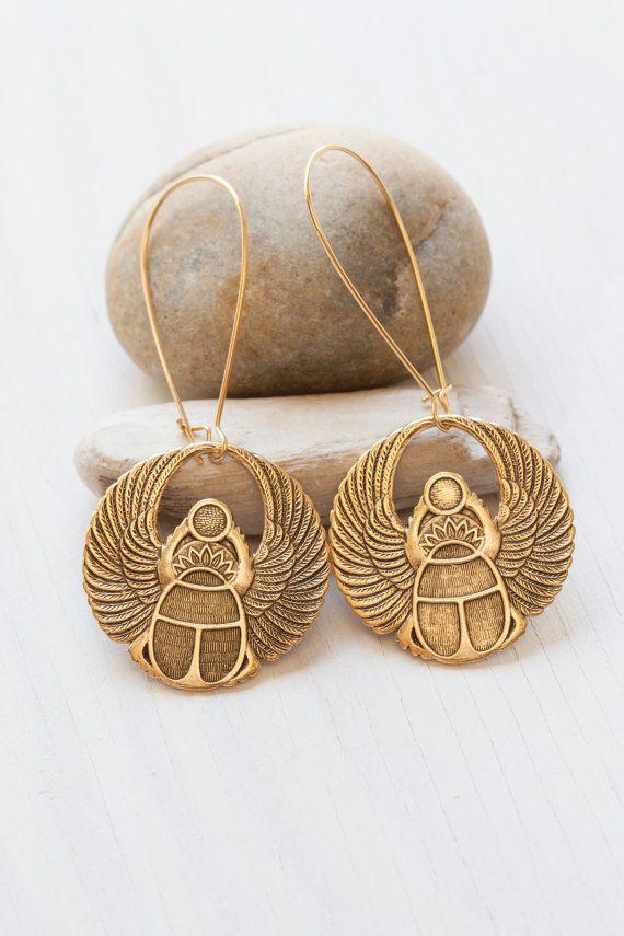 Golden Egyptian Scarab Earrings