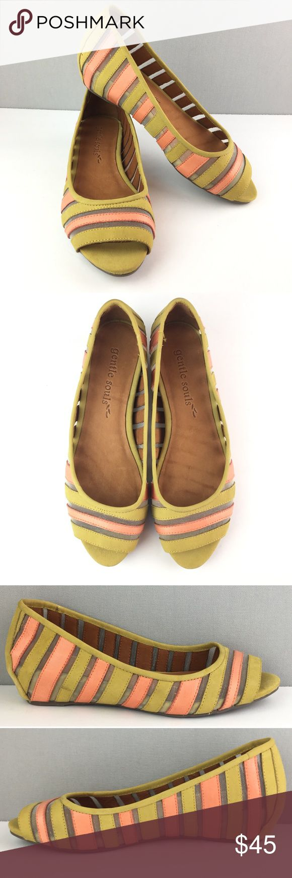 Gentle Soles Peep Toe Striped Ballet Flats Coral Gentle Soles Flats -Style name: Lily Drop -Peep toe  -Green and coral stripes with sheer stripes -Leather upper -Size 10M Gentle Souls Shoes Flats & Loafers