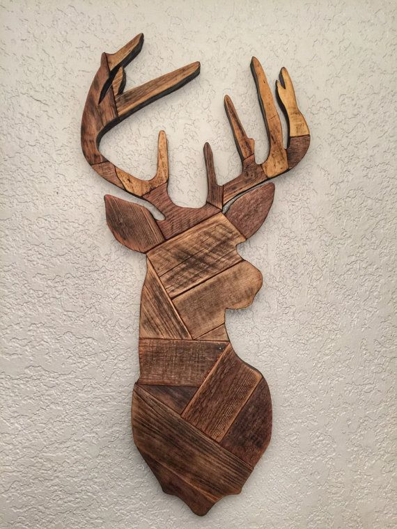 Deer head made from reclaimed wooden pallets deer hunting wall decor man cave gift