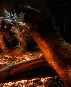 Smaug! I love smaug. Call me weird but I love him. Probably because he's a dragon... and since he's played by Benedict...