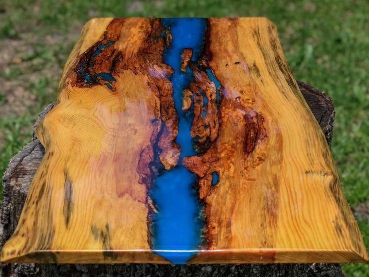 Details About Handmade Live Edge Red Cedar Blue Resin Art