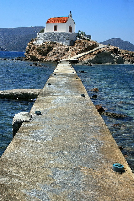 Walkway leading to Agios Isidoros church Leros Island  Greece