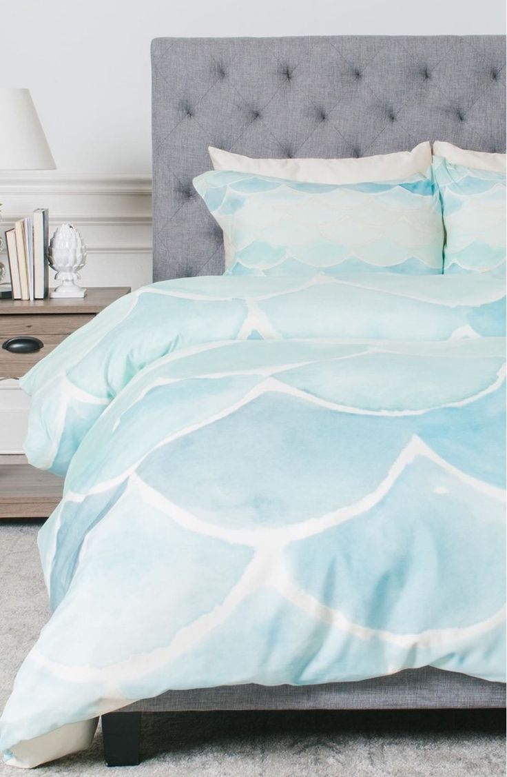 Your mermaid home decor won't be complete without a mermaid scales duvet cover and sham set.