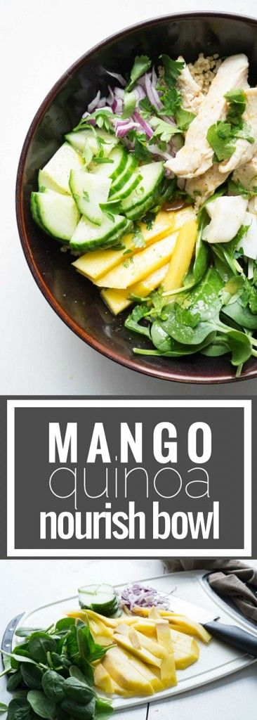 Mango Quinoa Nourish Bowl. The BEST and easiest way to pack a healthy lunch. A complete, balanced meal, all in one bowl.