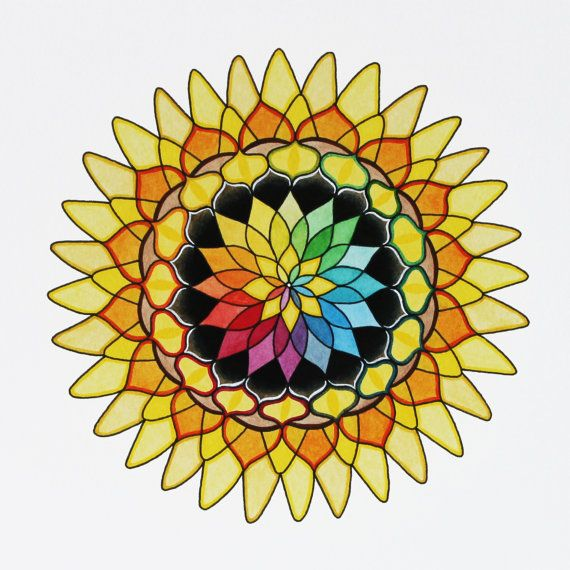 Sunflower Mandala Giclee Print of an Original by KeelyFinnegan, $20.00Middle Design, Mandalas Design