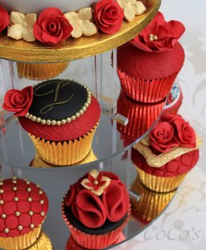 cocos red and gold cupcake collection by Cocos Cupcakes Camberley, via Flickr