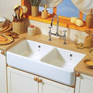 Shaws Classic Farmhouse White Ceramic Double Bowl Kitchen Sink   995 X 465mm