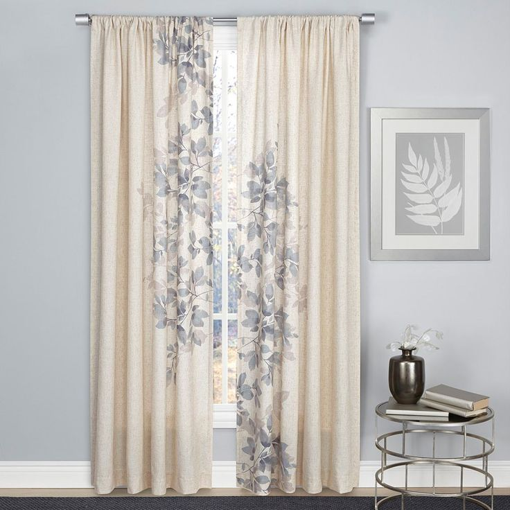 1888 Mills Hamilton Leaf Curtain, Blue