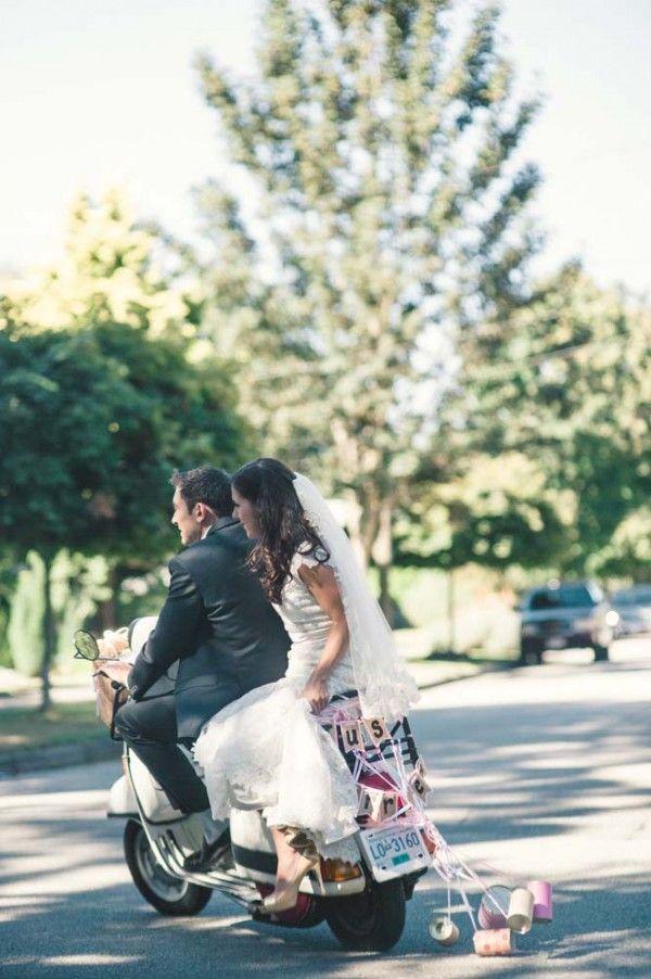 Bride and Groom ...Vroooom! #vespa #wedding