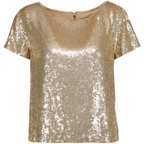 Alice + Olivia Sarita sequined tulle top (390 BAM) ❤ liked on Polyvore featuring tops, gold, alice olivia top, loose sequin top, sequin embellished top, loose tops and boxy tops
