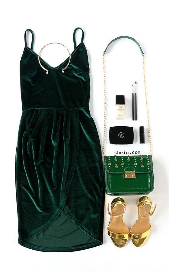 Date night love. Dark green backless ruched velvet cami dress.