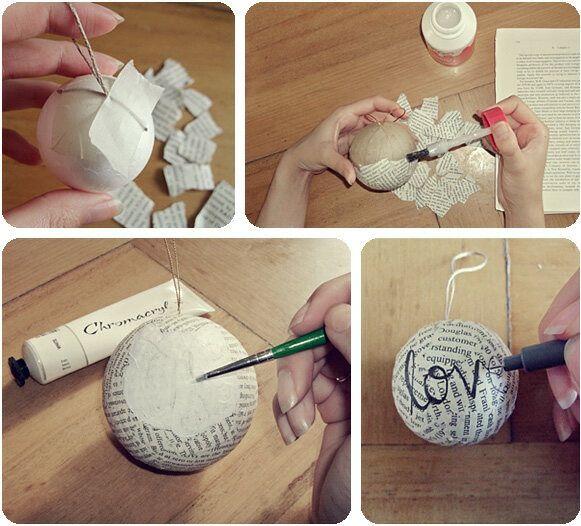 DIY bolas de navidad forradas con hojas de libros o periódicos