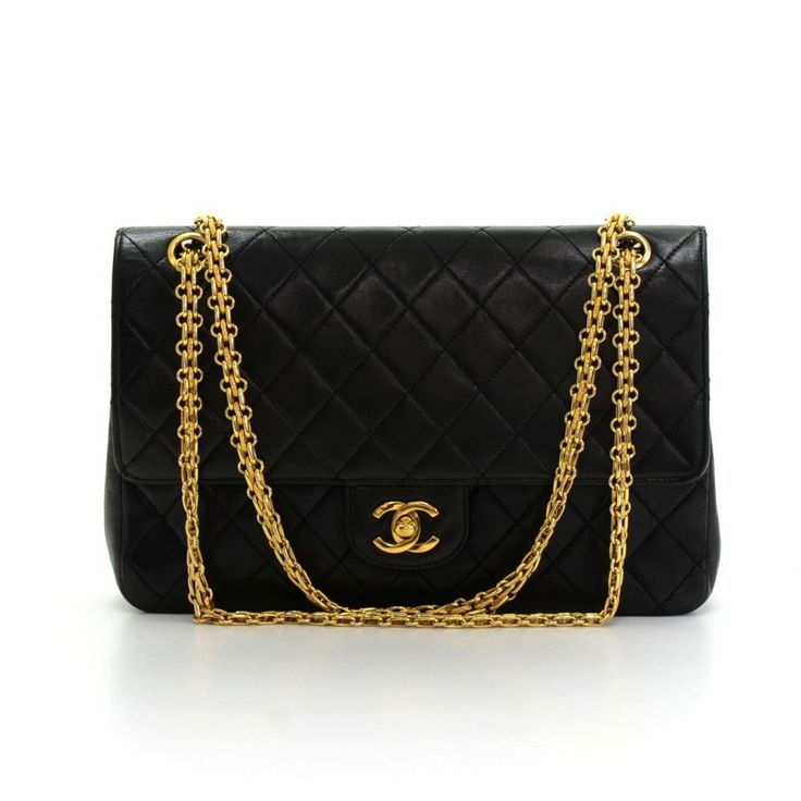 Authentic Chanel black quilted leather bag with double flap. It has CC twist lock on the front flap. Second flap has stud closure. Underneath it, there is one slip in pocket and inside lining is in famous Chanel red leather. #Chanel #fmasarovic #Handbags