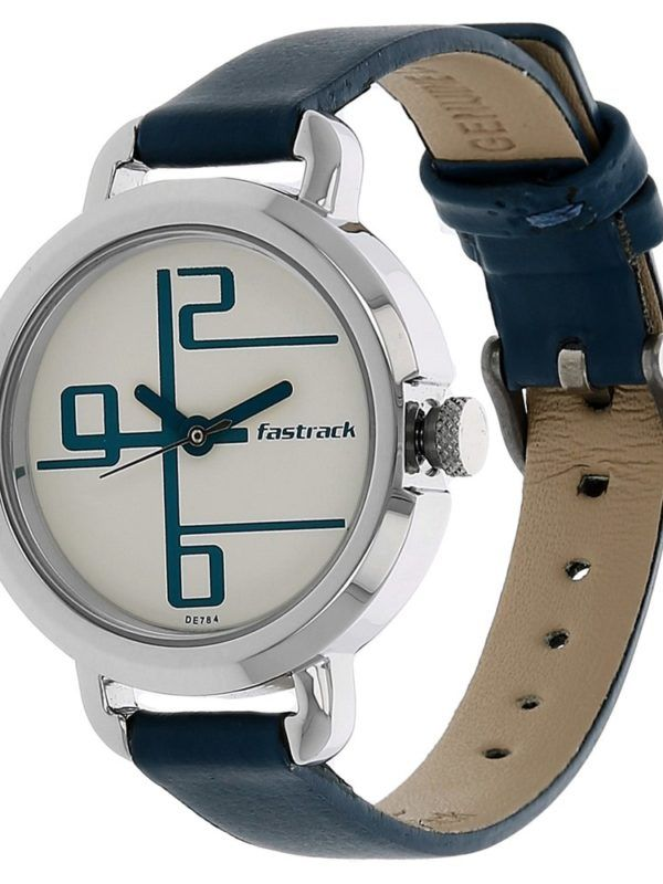 69aca90be FASTRACK WHITE DIAL ANALOG LEATHER STRAP WATCH FOR WOMEN NG6123SL01C ...