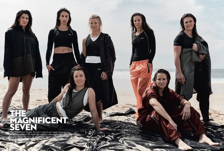 Justin Ridler recently spent a day on the beach with the Olympic Champion womens Rugby 7's team for Vogue Australia. (Stylist Phillipa Morony, Make-Up Diane Gorgievski Make-up Nadine Monley)