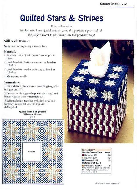Quilted Stars  amp  Stripes Tissue Box Cover