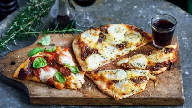 Potato, caramelised onion and rosemary pizza or Chorizo pizza with roast capsicum, butter beans and mozzarella