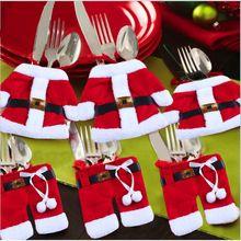 Decoração cultery talheres faca garfo roupa de papai noel do natal estilo capa para festa de Natal decoração suprimentos alishoppbrasil