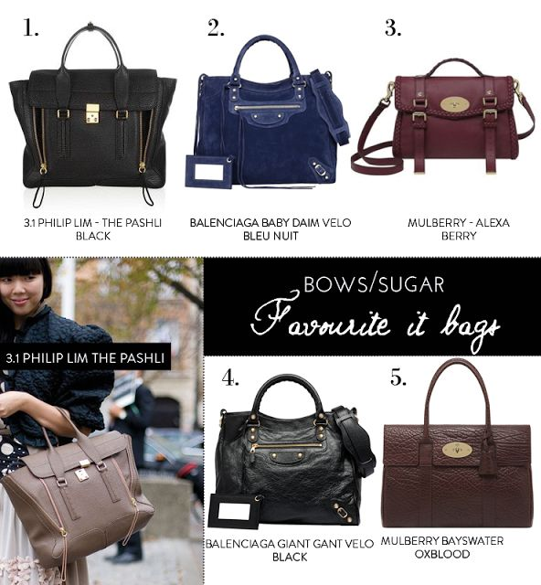 It bags - Philip Lim The Pashli - Balenciaga Velo - Mulberry Alexa - Mulberry Bayswater
