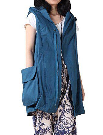 Mordenmiss Women's Sleeveless Coat Vest Hoodie Waistcoat Anoraks with Big Pockets Review