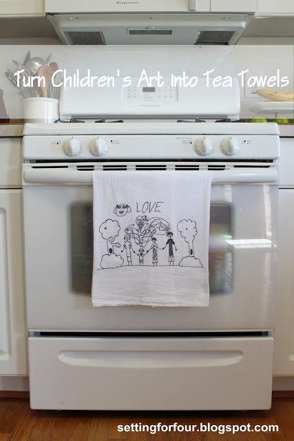 un dessin d'enfant + un scanner + du papier transfert + un fer à repasser + un(e) serviette ou torchon = un joli cadeau !