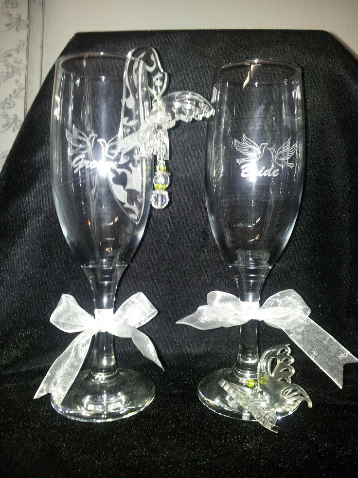 Bride and groom wedding glasses