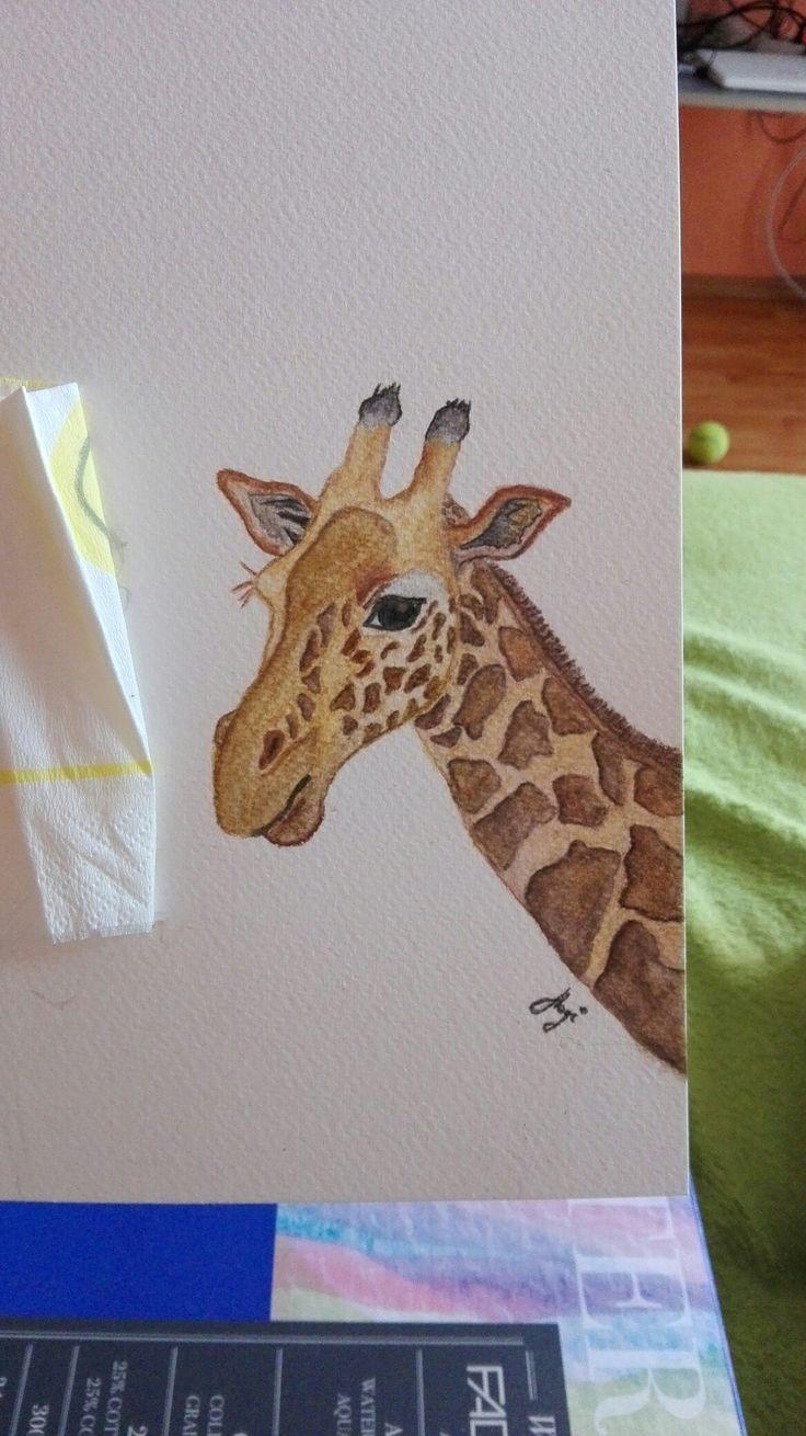 Giraffe watercolor pencil