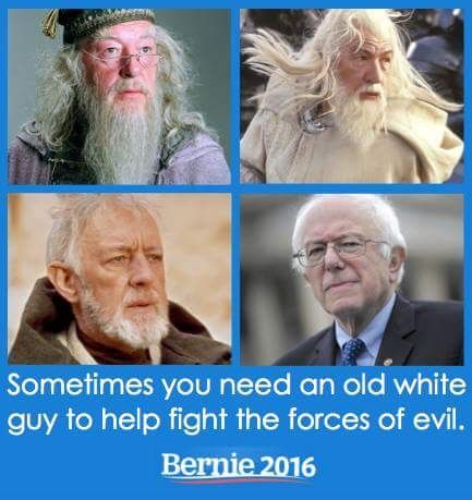 Sometimes you need an old white guy to help fight the forces of evil. Bernie 2016