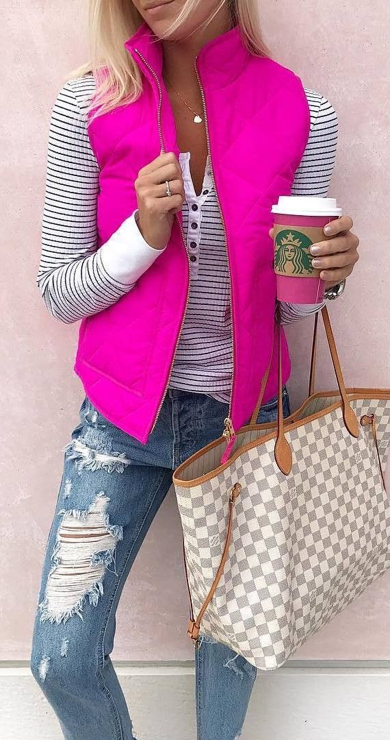 cool outfit_stripped top + pink vest + bag + rips