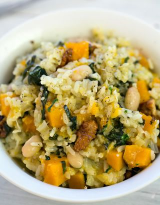 Risotto with pumpkin, spinach, cannellini beans & walnuts ...