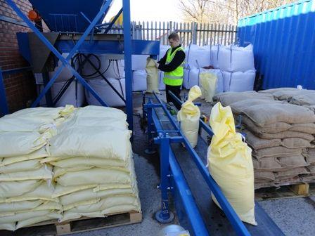 Filling #Sandbags at Sackmaker's Glasgow facility.