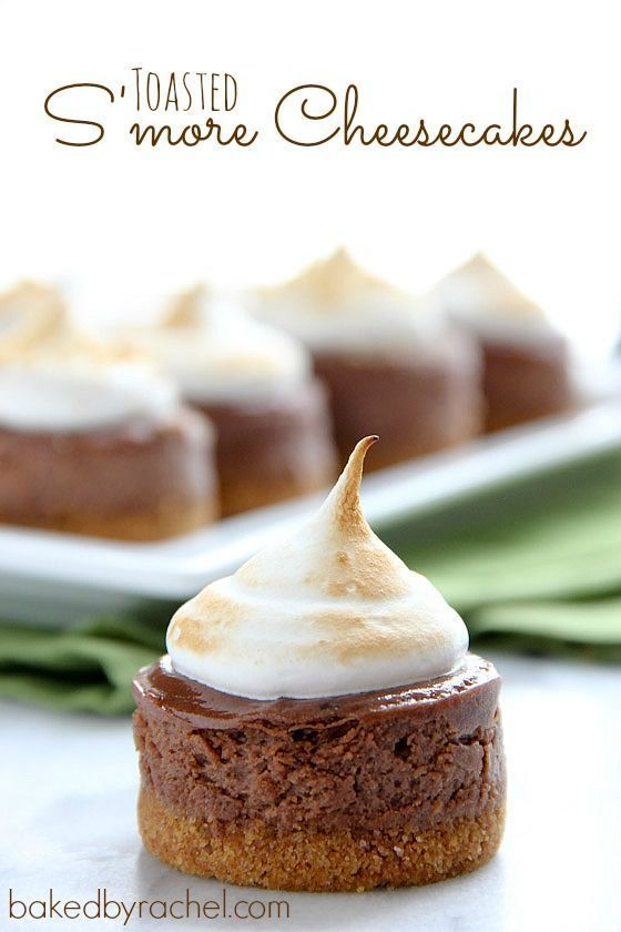 Mini Toasted S'more Cheesecakes Recipe from http://bakedbyrachel.com
