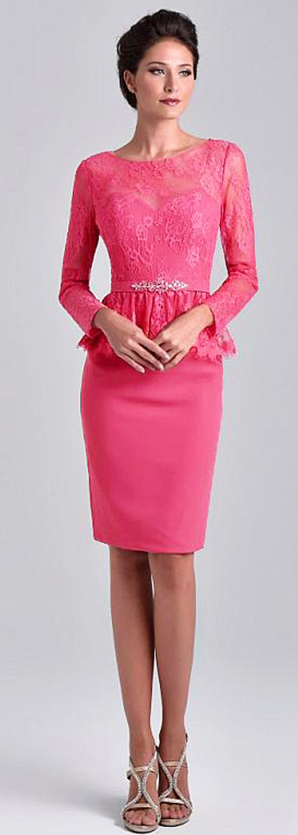 Delicate Lace & Chiffon Bateau Neckline Long Sleeves Knee-length Sheath/Column Mother Of The Bride Dresses With Beadings