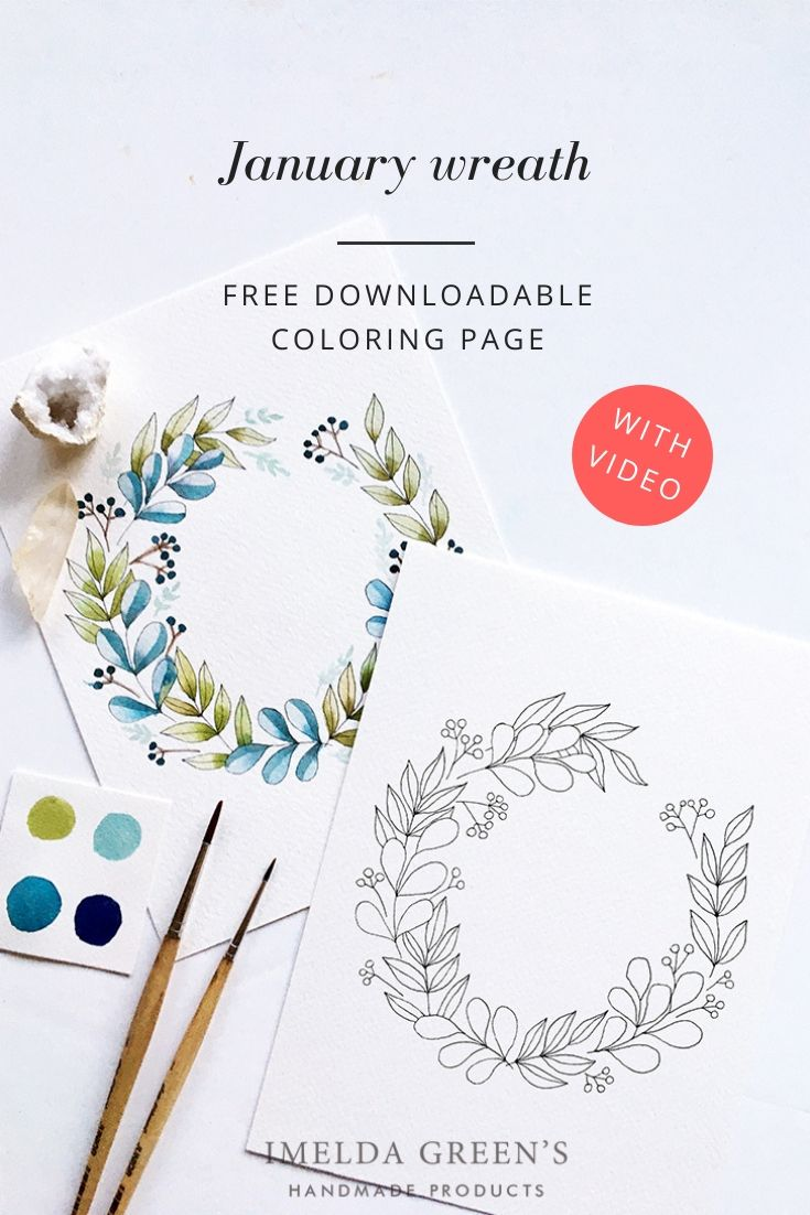 January Floral Wreath Downloadable Colouring Page 1 Floral