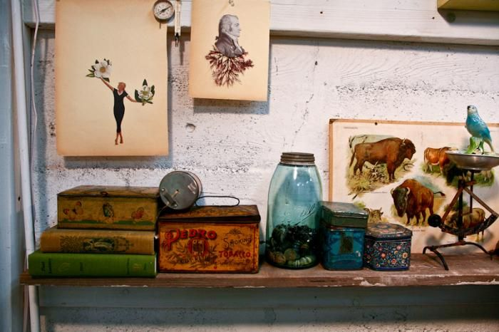 : Alison Kendall Studios, Interiors Deco, Work Studios, Art Studios, Eclectic Collection, Inspiration Image, Art Decor Books Jars, Kendall Collage, Collage Hanging
