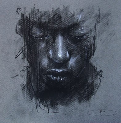 Guy Denning - 'dreaming of someone else's death-mask' conte and chalk on paper 21 x 21 cm 26th March 2011